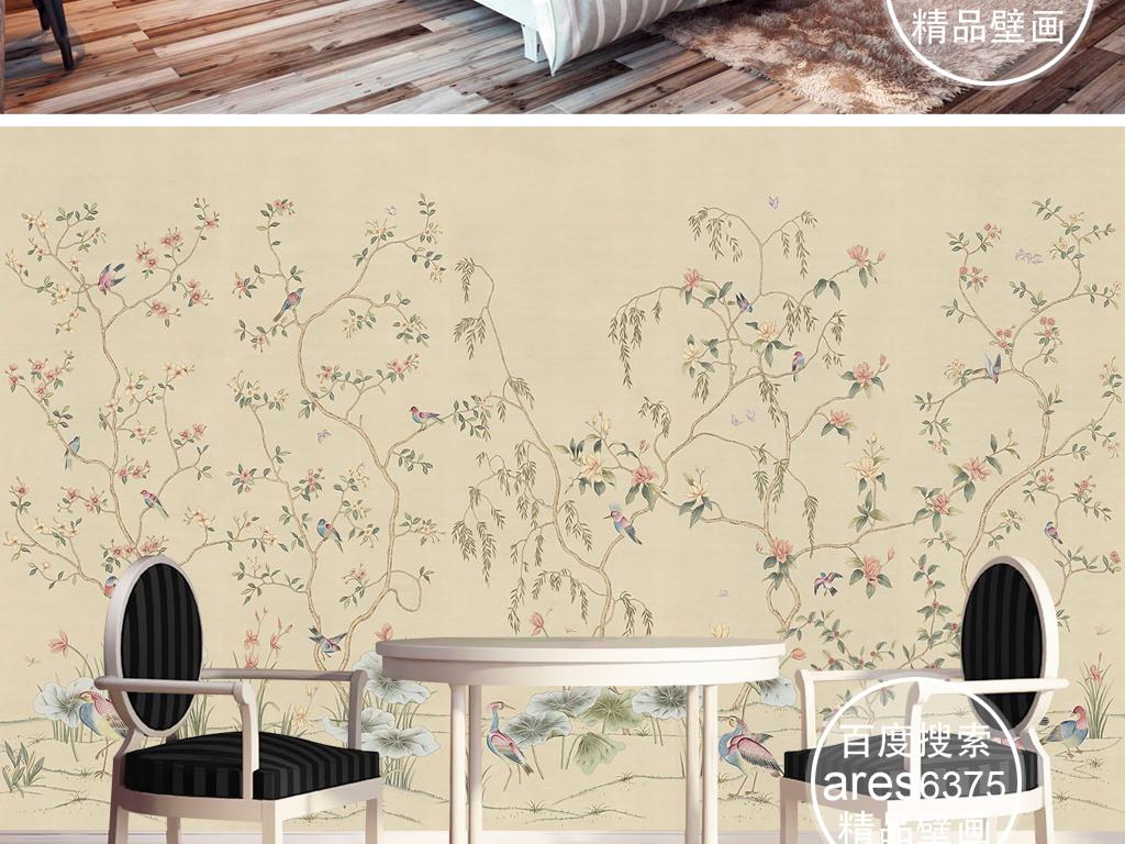 欧式新中式手绘工笔花鸟荷叶田园壁画背景墙