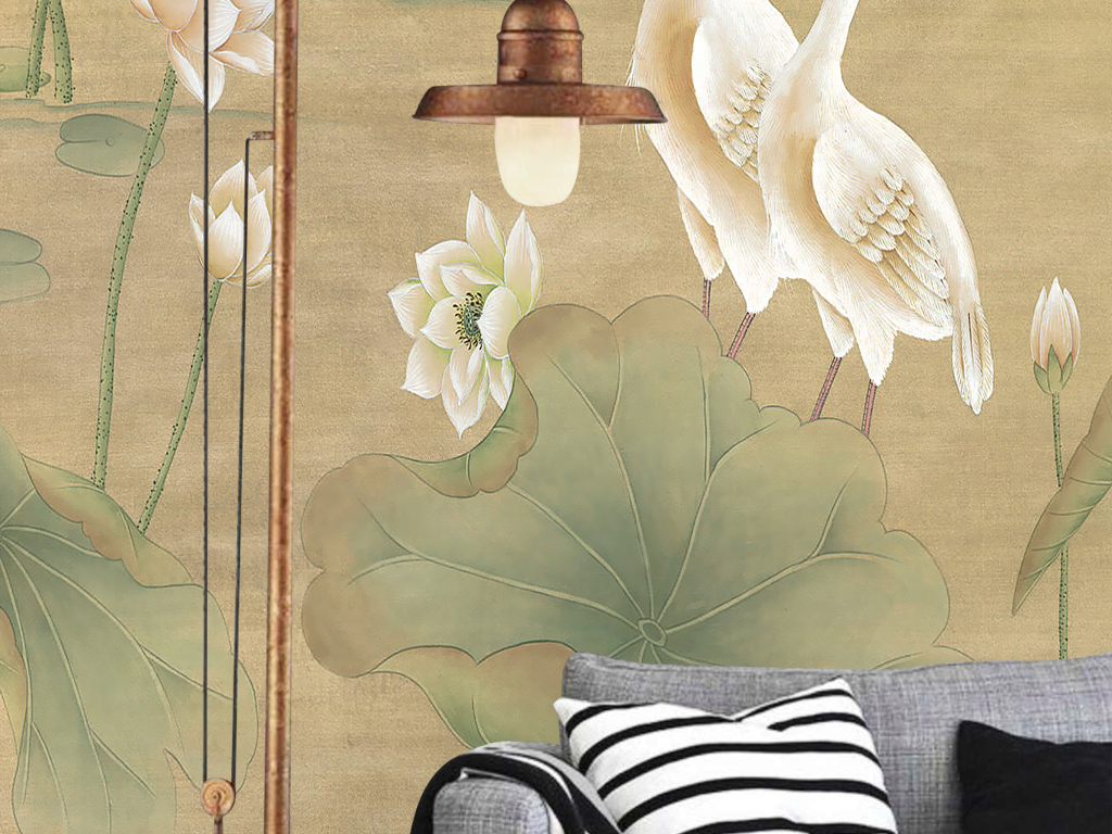 欧式手绘工笔花鸟荷花仙鹤新中式壁画玄关图片