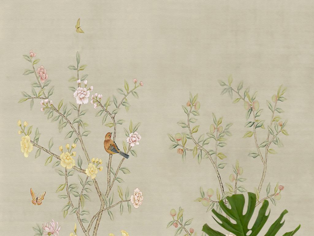 欧式手绘工笔牡丹花鸟新中式壁画玄关背景墙
