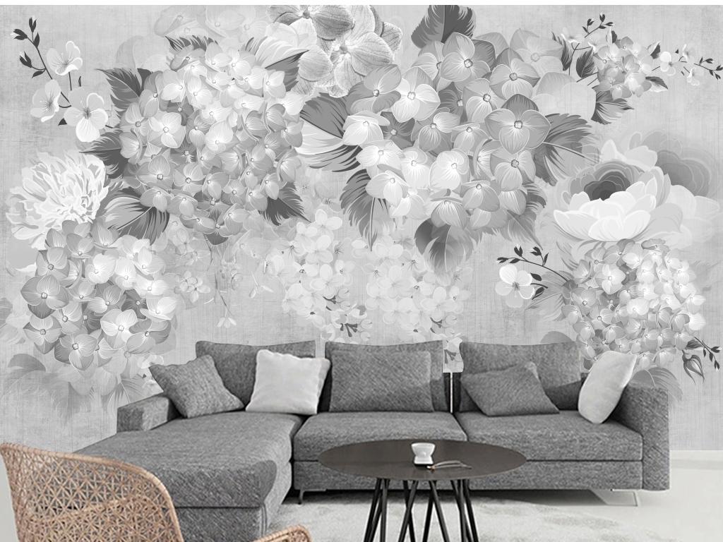 田园复古手绘花卉沙发电视背景墙