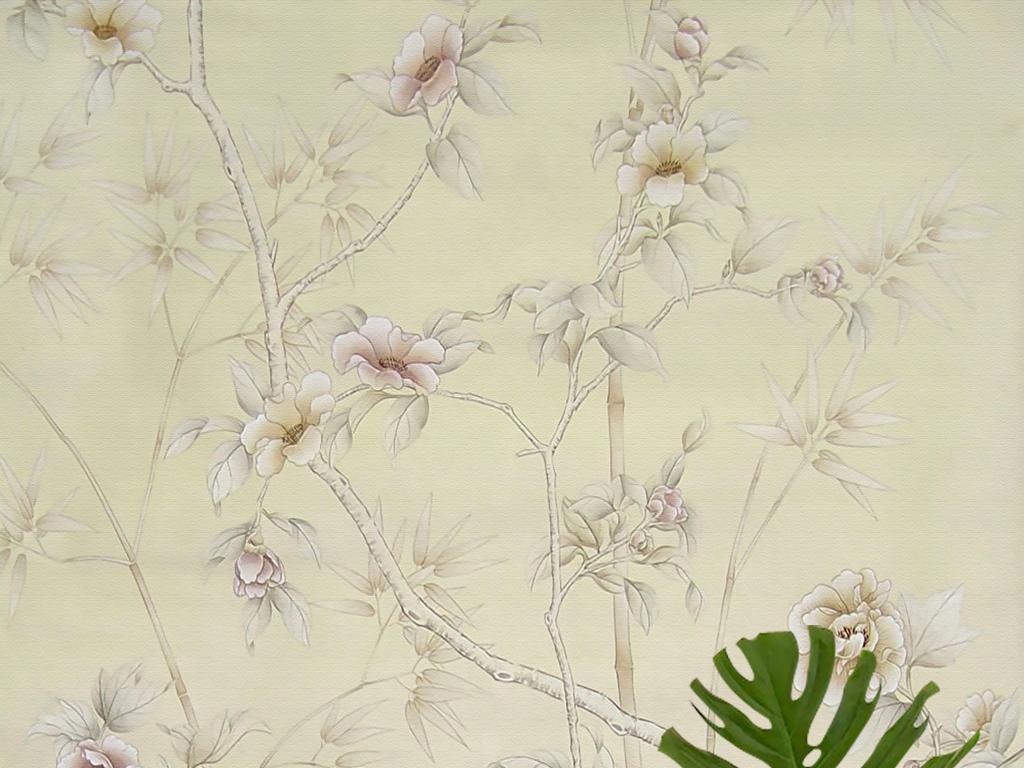 欧式手绘工笔花鸟牡丹蝴蝶新中式壁画玄关