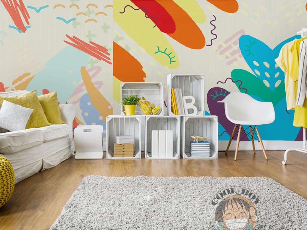 现代简约手绘抽象彩色涂鸦儿童房全屋背景墙