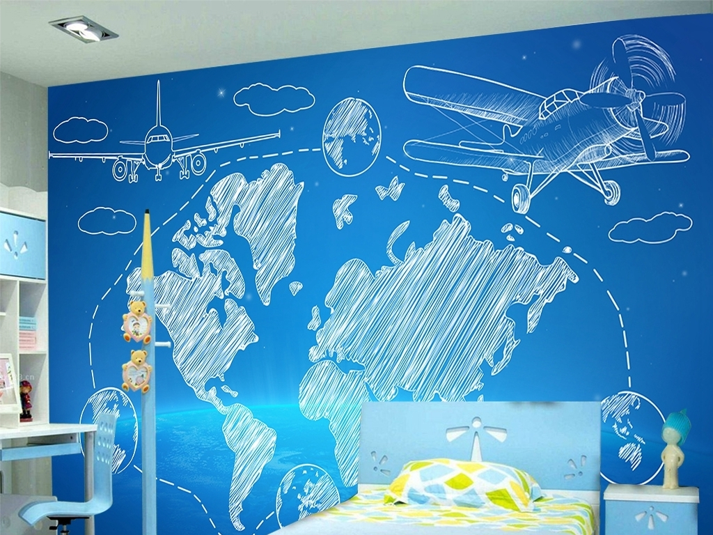 手绘飞机地图旅行背景墙装饰画