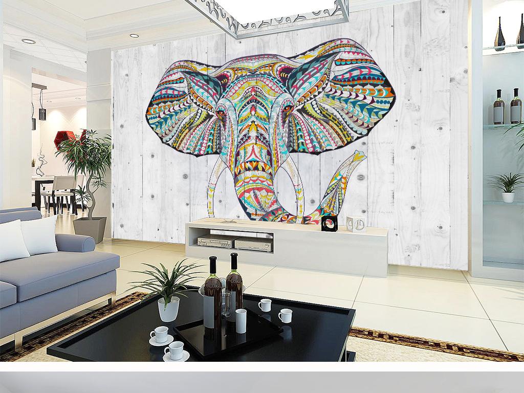 民族风大象北欧式背景墙(图片编号:15624752)_电视墙
