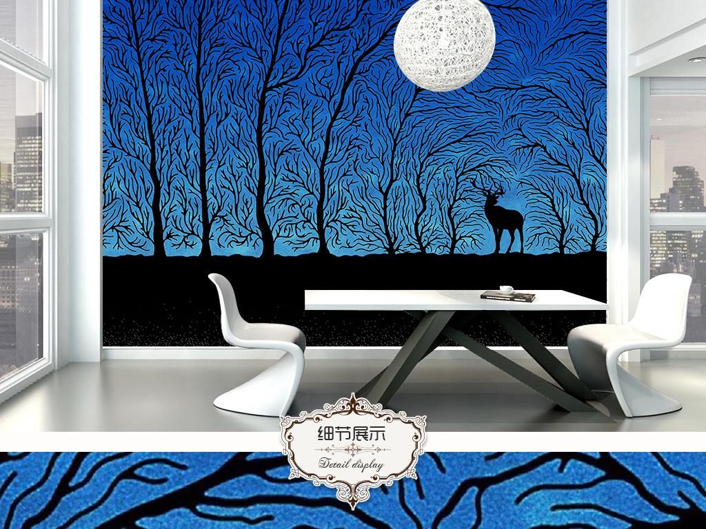 背景墙 电视背景墙 手绘电视背景墙 > 仰望星空树林麋鹿北欧背景墙