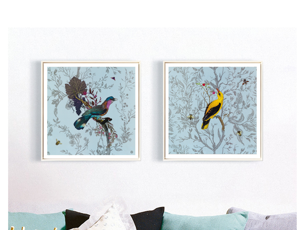 美式鸟类动物装饰画
