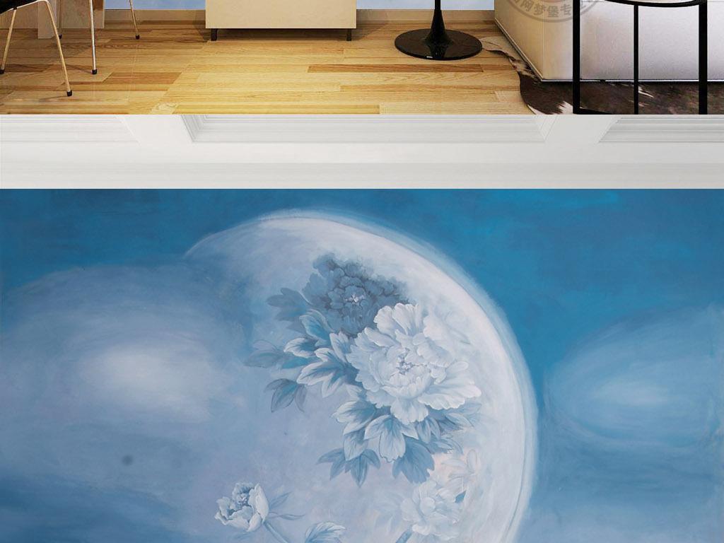 背景墙|装饰画 电视背景墙 手绘电视背景墙 > 现代抽象月亮牡丹玫瑰