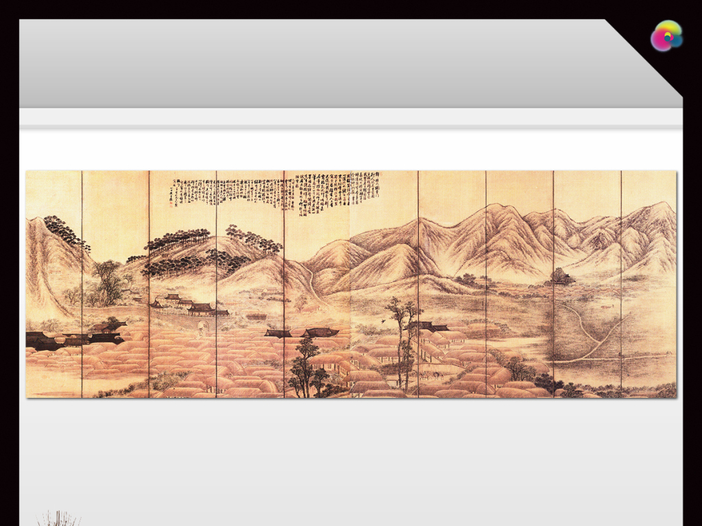 手绘复古国画山水画电视背景墙