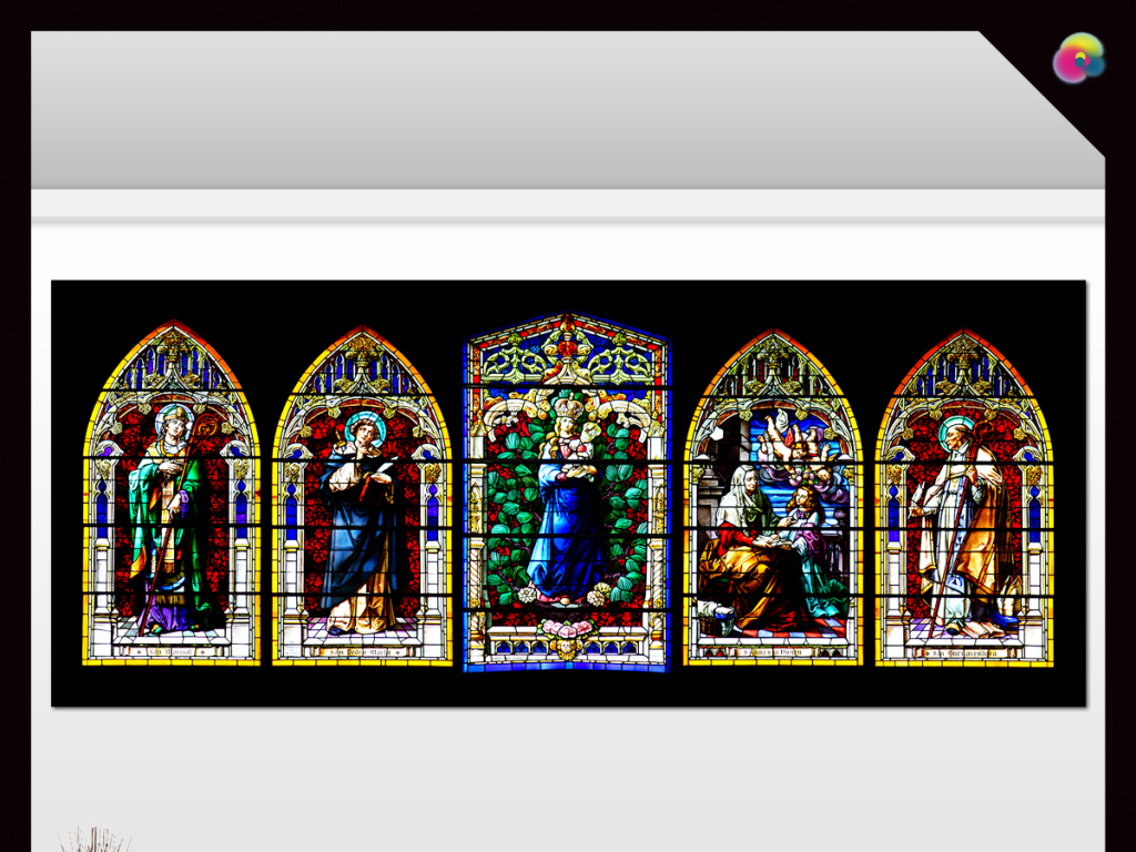 手绘高清圣母油画欧式教堂玻璃装饰画