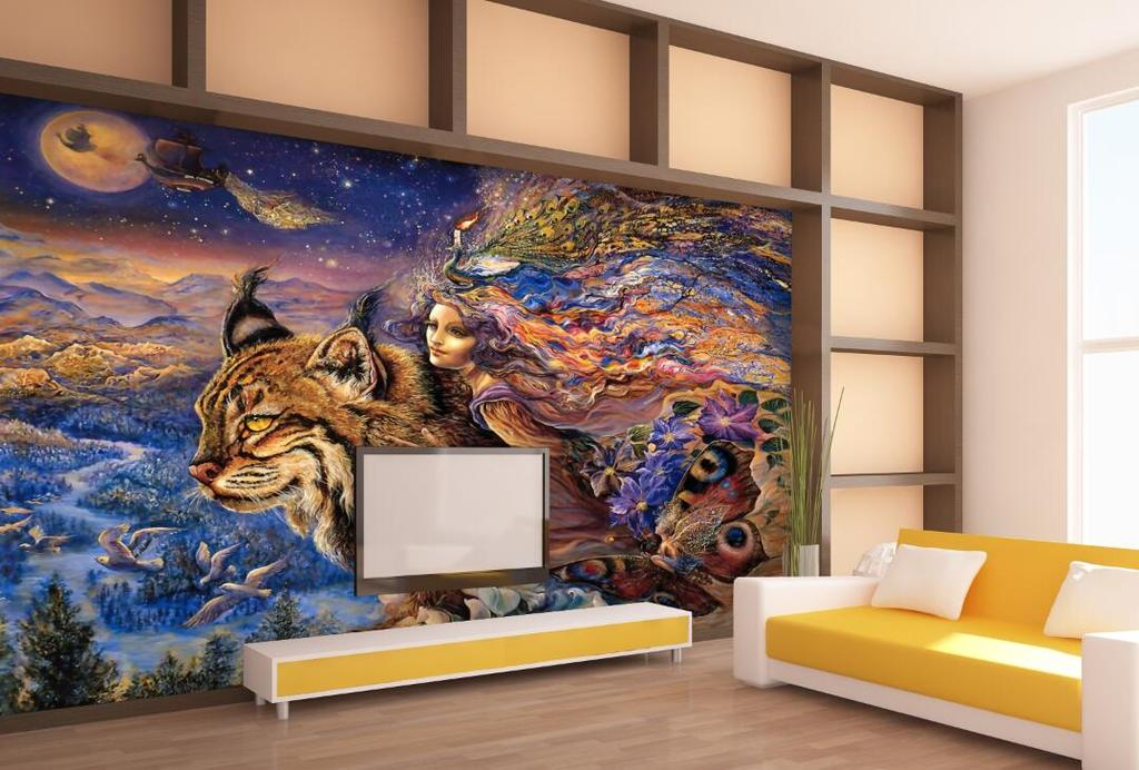 手绘美女与野兽壁画壁纸背景墙
