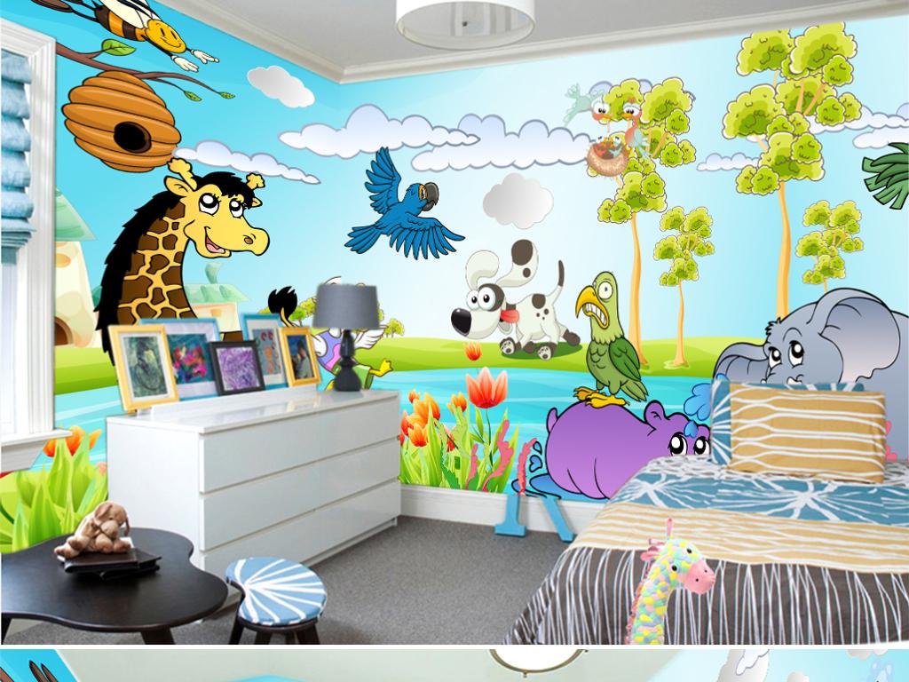 创意手绘动物3d儿童卡通漫画背景墙图片