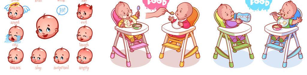 卡通婴儿漫画矢量素材集锦