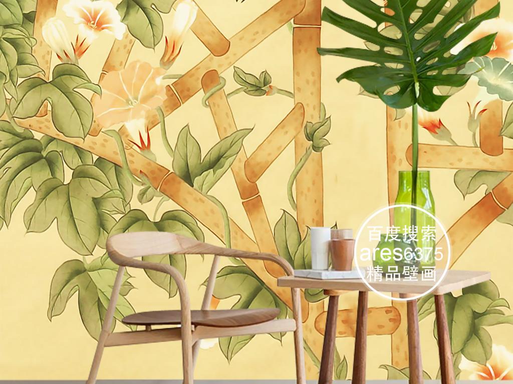 欧式手绘工笔花鸟栅栏牵牛花新中式壁画玄关