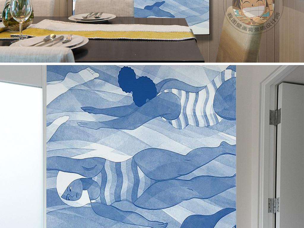 卡通手绘抽象人物游泳蓝色海水唯美装饰画
