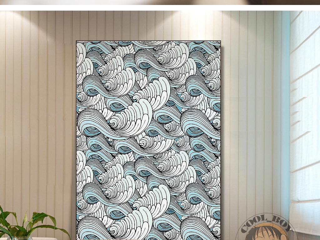 新中式手绘抽象云彩祥云大气中国风装饰画图片