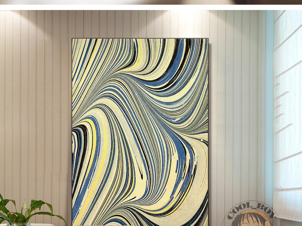 现代艺术抽象绘画手绘线条图案装饰画