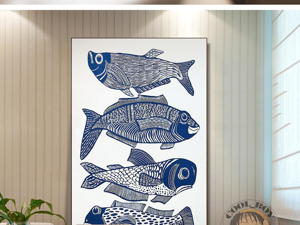背景墙|装饰画 无框画 动物图案无框画 > 蓝色鱼抽象绘画现代简约时尚
