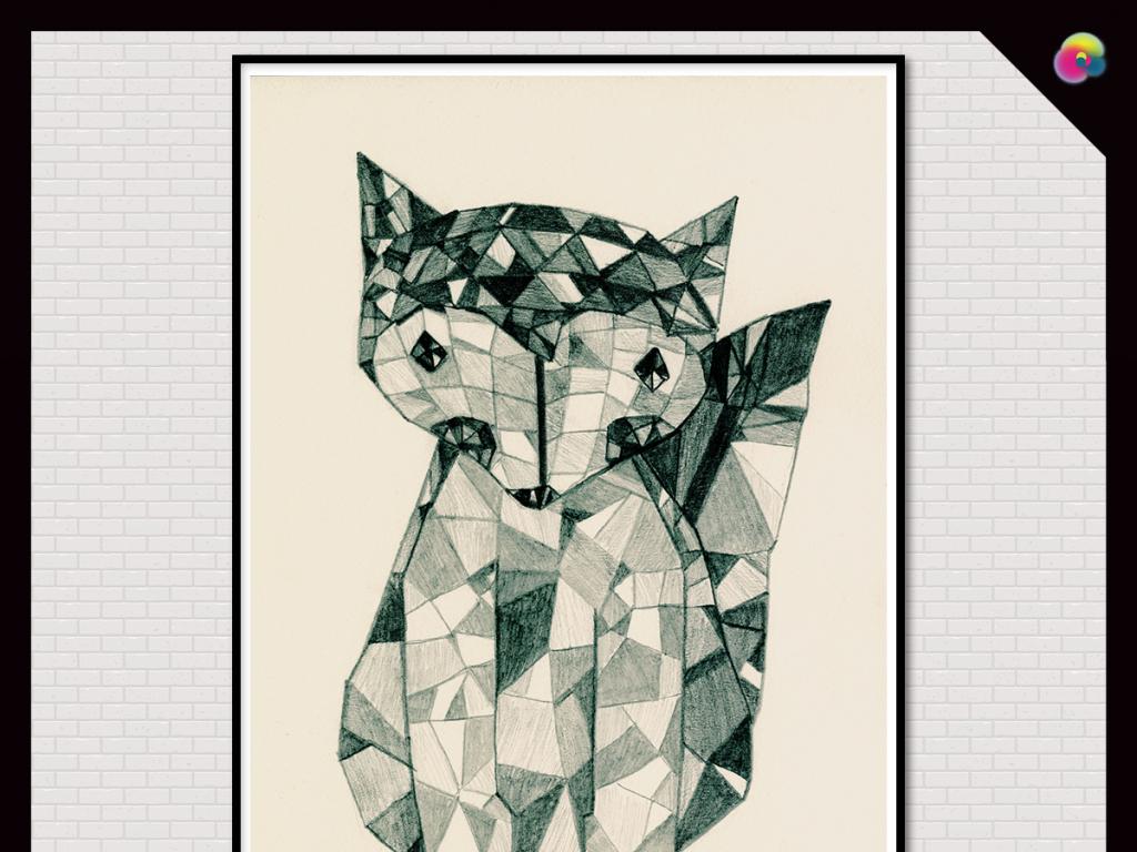 背景墙|装饰画 无框画 动物图案无框画 > 北欧手绘复古狐狸插画无框