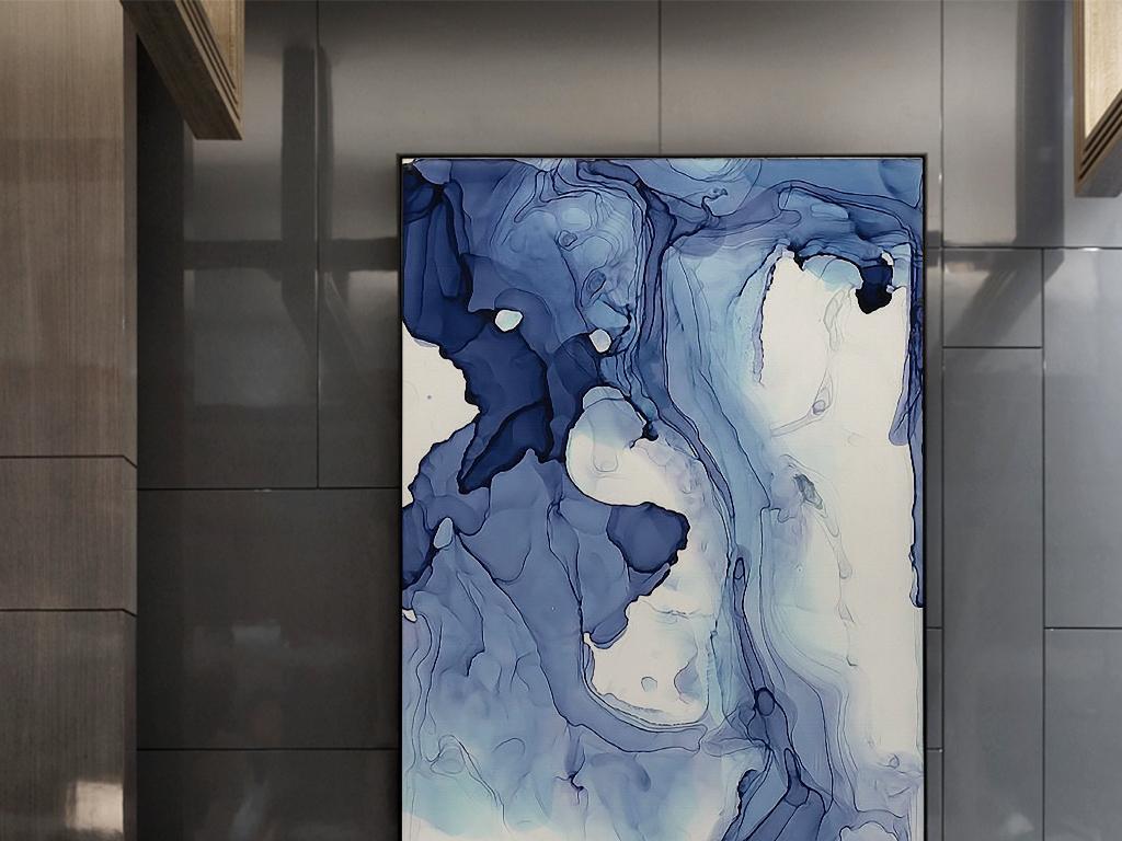 蓝色水彩抽象图案手绘现代艺术装饰画