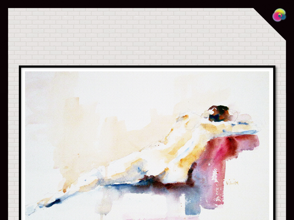手绘现代简约美女背影插画玄关电视背景墙