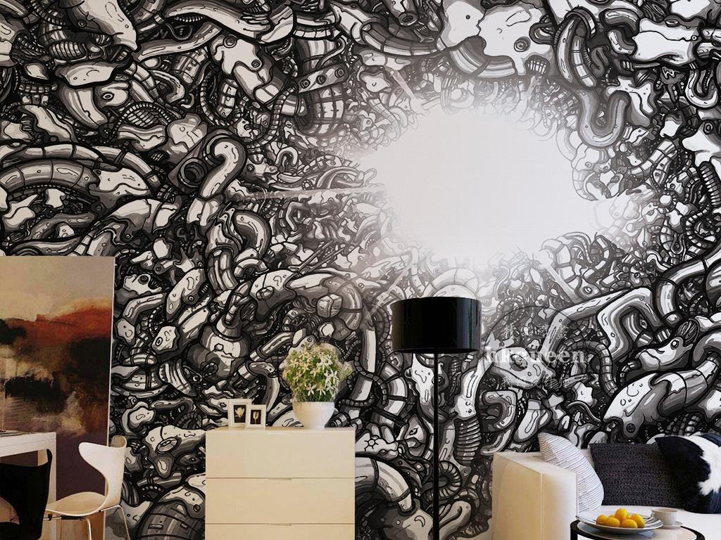 卡通手绘钢管机械螺丝垃圾堆创意背景墙