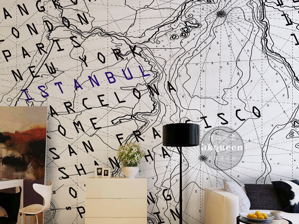 北欧简约时尚手绘地球仪英文字母抽象背景墙