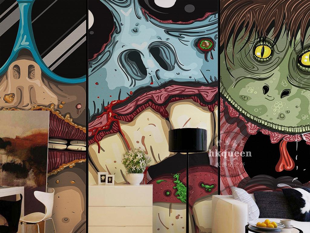 日本恐怖热血动漫怪物手绘卡通主题背景墙