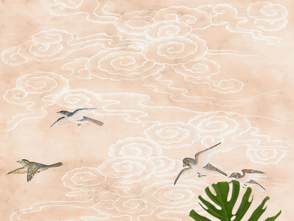 欧式手绘新中式云纹花鸟文艺壁画玄关