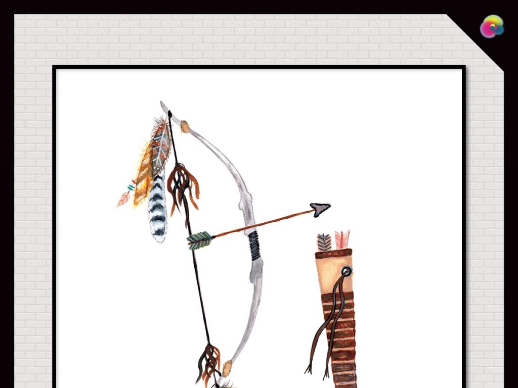 手绘复古印第安人羽毛水彩弓箭水彩画