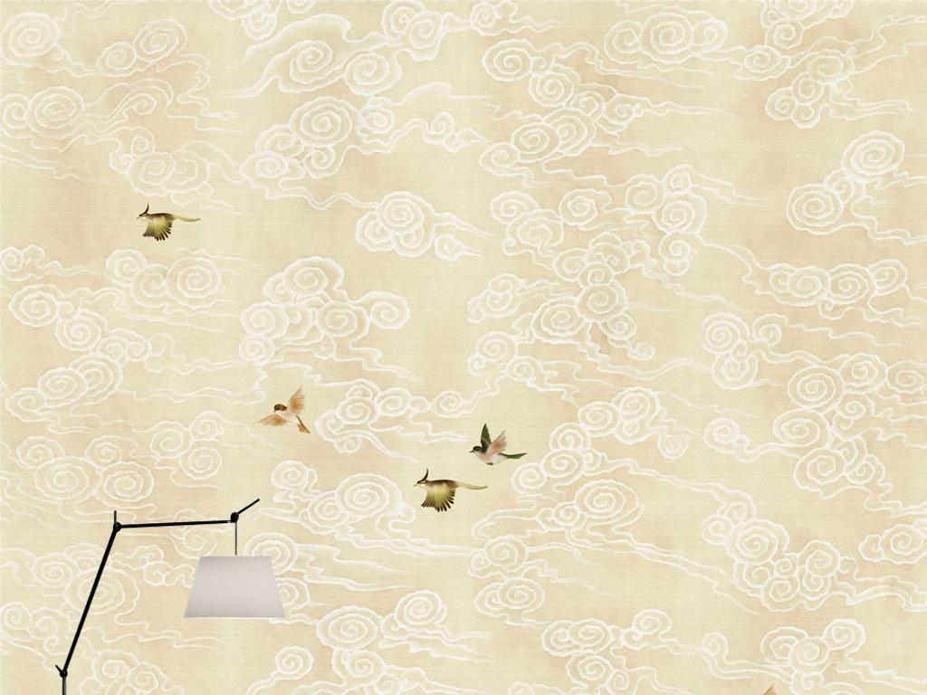 欧式新中式手绘工笔花鸟云纹壁画田园背景
