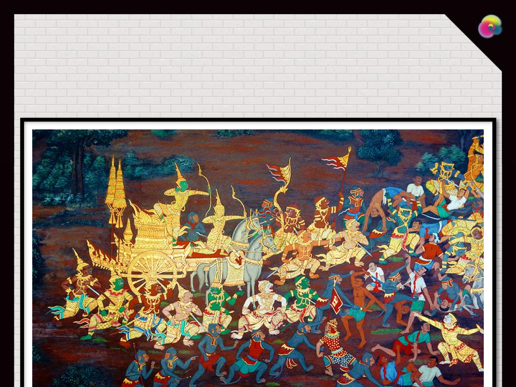 个性日式手绘油画电视背景墙