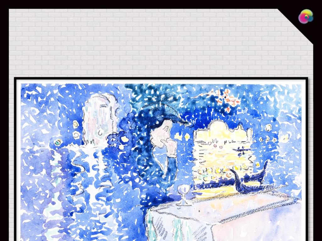 现代手绘复古餐厅抽象美女水彩画
