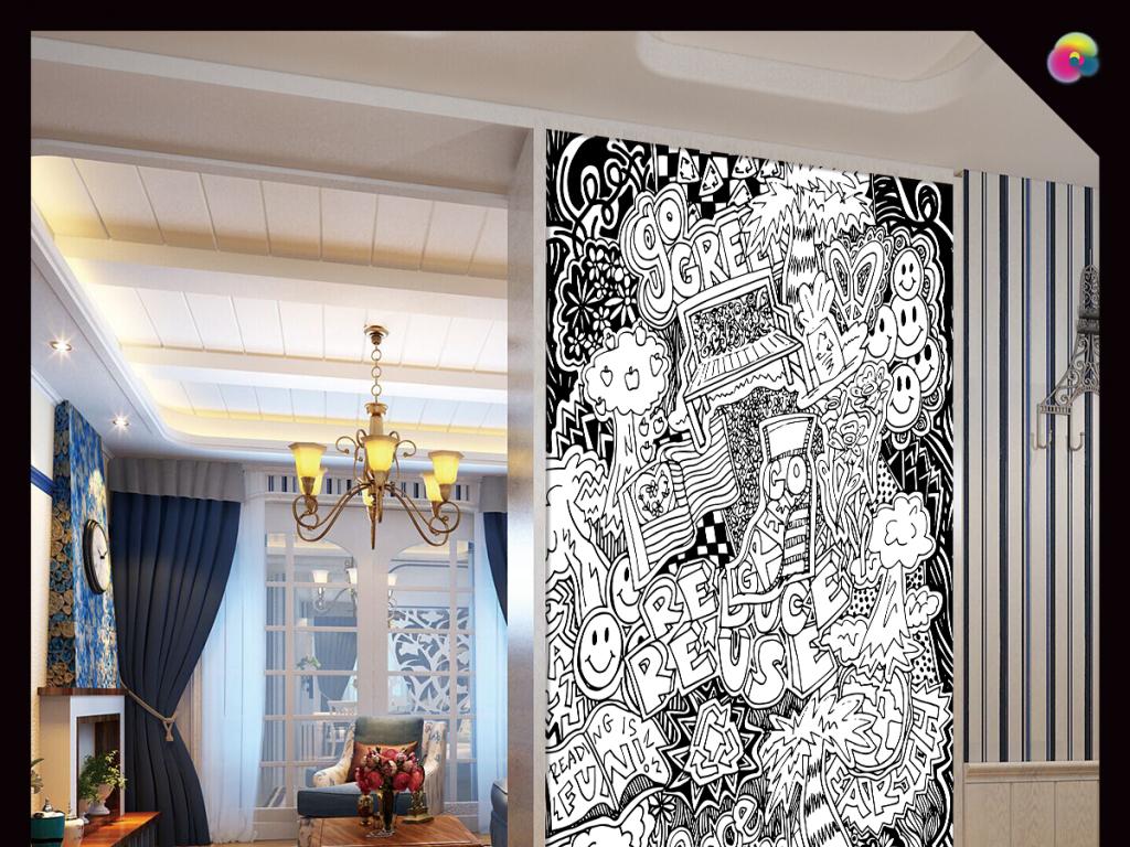手绘抽象黑白线条图案油画玄关装饰画