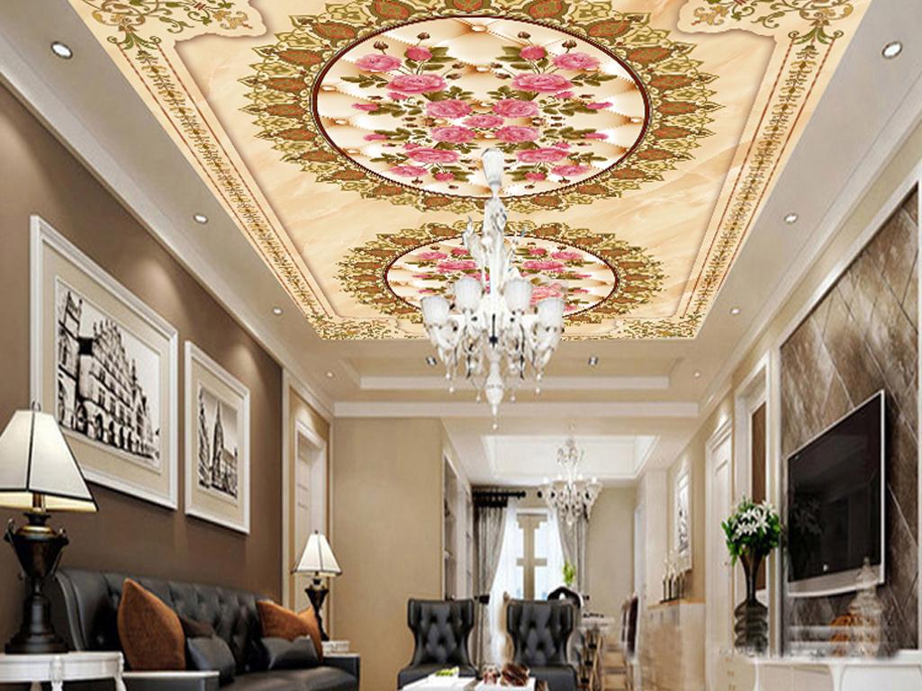 欧式尊贵大理石纹理拼花3d地板地砖瓷砖画图片