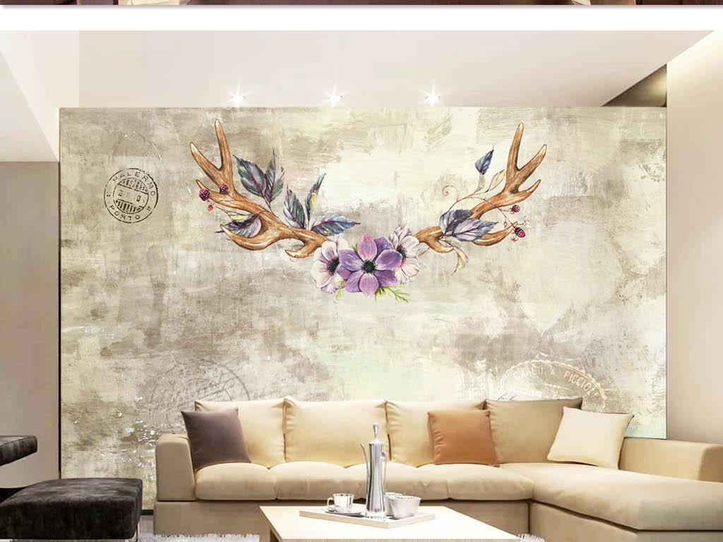 背景墙 电视背景墙 美式背景墙 > 美式鹿角戴花背景墙  素材图片参数图片