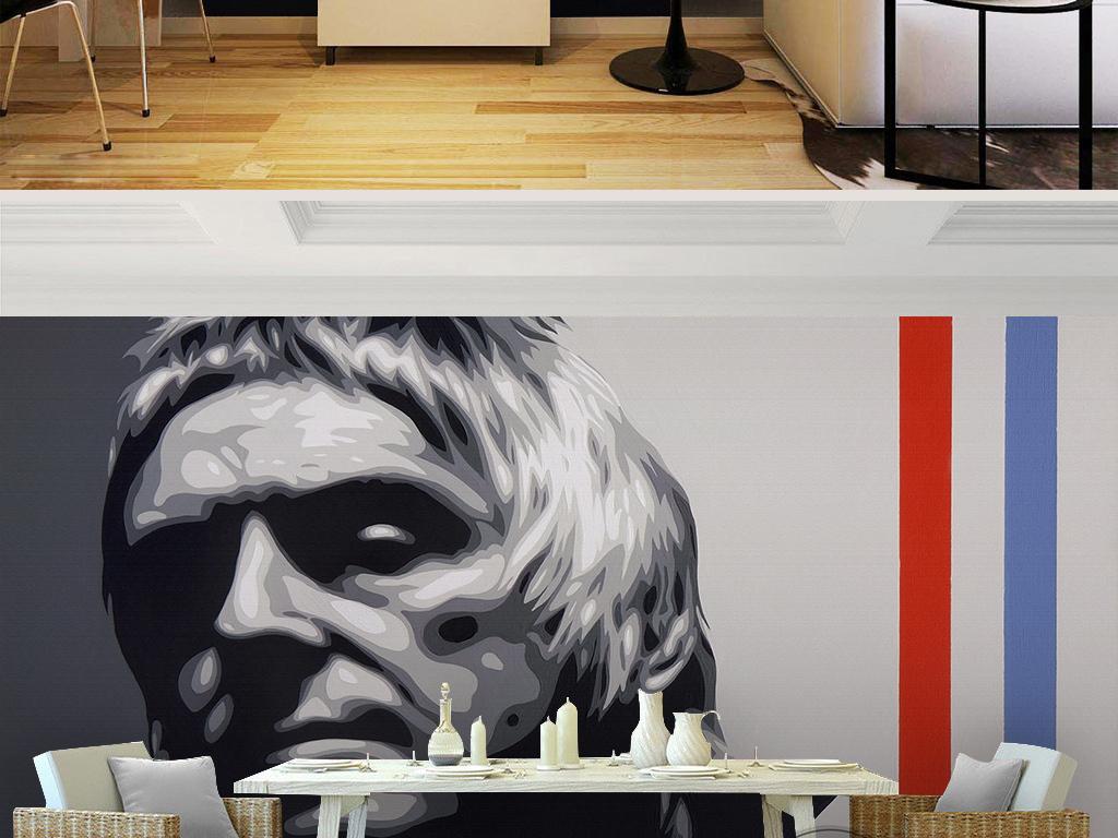 北欧简约时尚黑白人物脸谱深沉油画背景墙