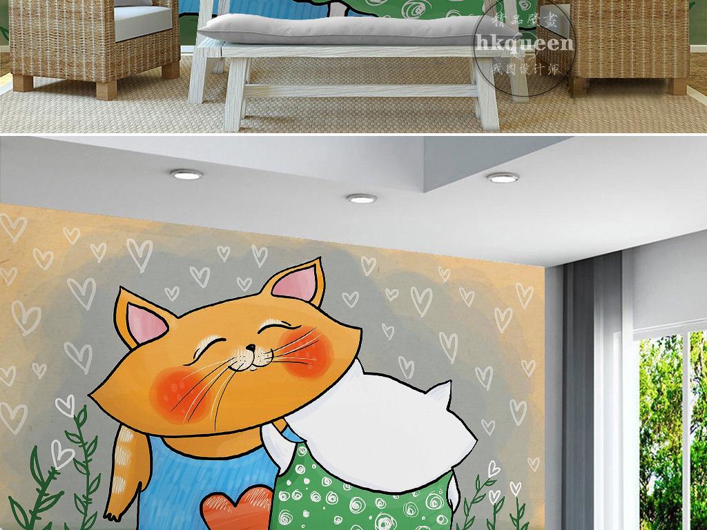 卡通手绘猫咪碎花裙心形抽象图案背景墙