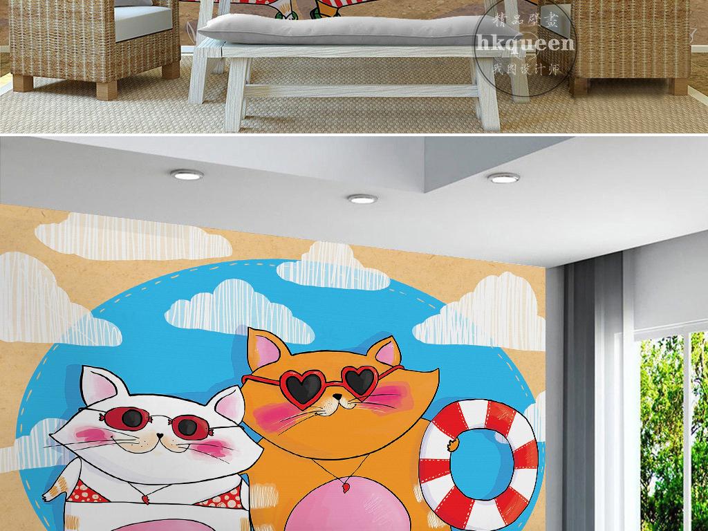 现代简约蓝色海水猫咪游泳圈手绘背景墙