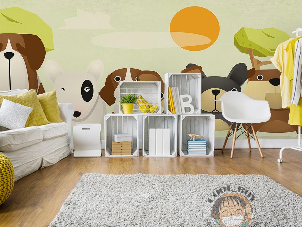 卡通手绘宠物狗可爱大自然清新全屋背景墙