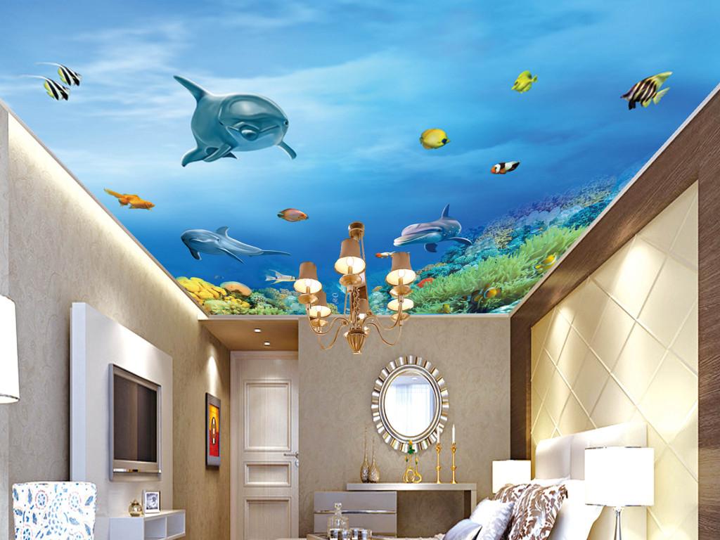 2016-09-17 20:19:10 我图网提供精品流行3d海底世界天花吊顶壁画
