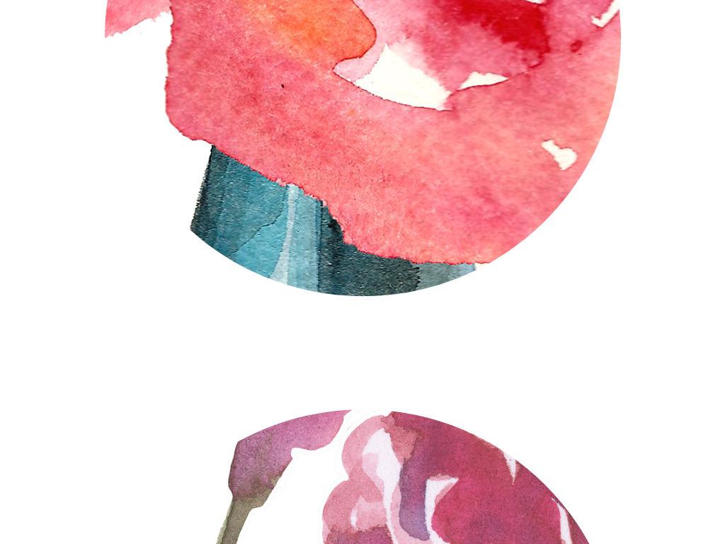 手绘插画插花花瓶水彩花无框画