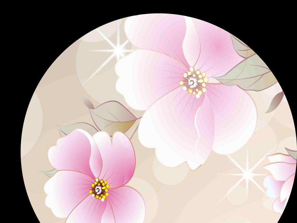 手绘唯美浪漫粉色小花背景墙