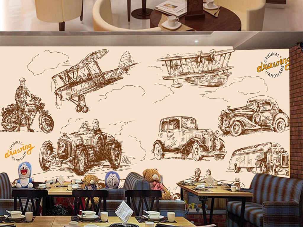 复古手绘汽车飞机电视背景墙