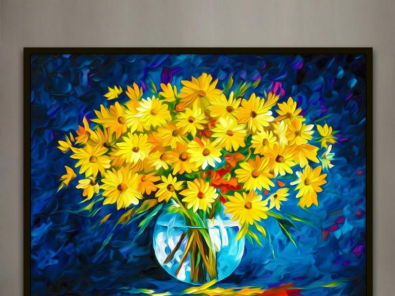 雏菊花卉花朵欧式静物油画印象派客厅装饰画