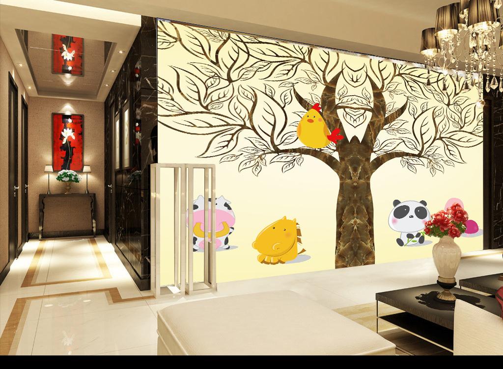 简约大树小动物鸡龟马牛熊猫卡通电视背景墙