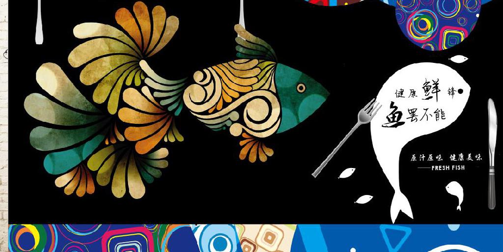 复古怀旧快乐的鱼烤鱼餐饮背景墙图片