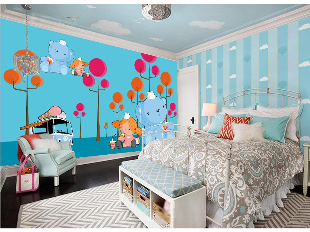 手绘卡通大象儿童房背景墙