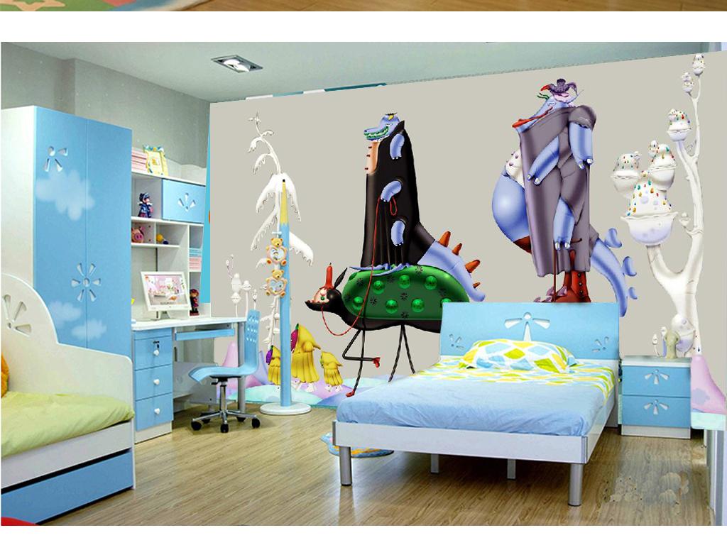 手绘卡通鳄鱼儿童房背景墙(图片编号:15632452)