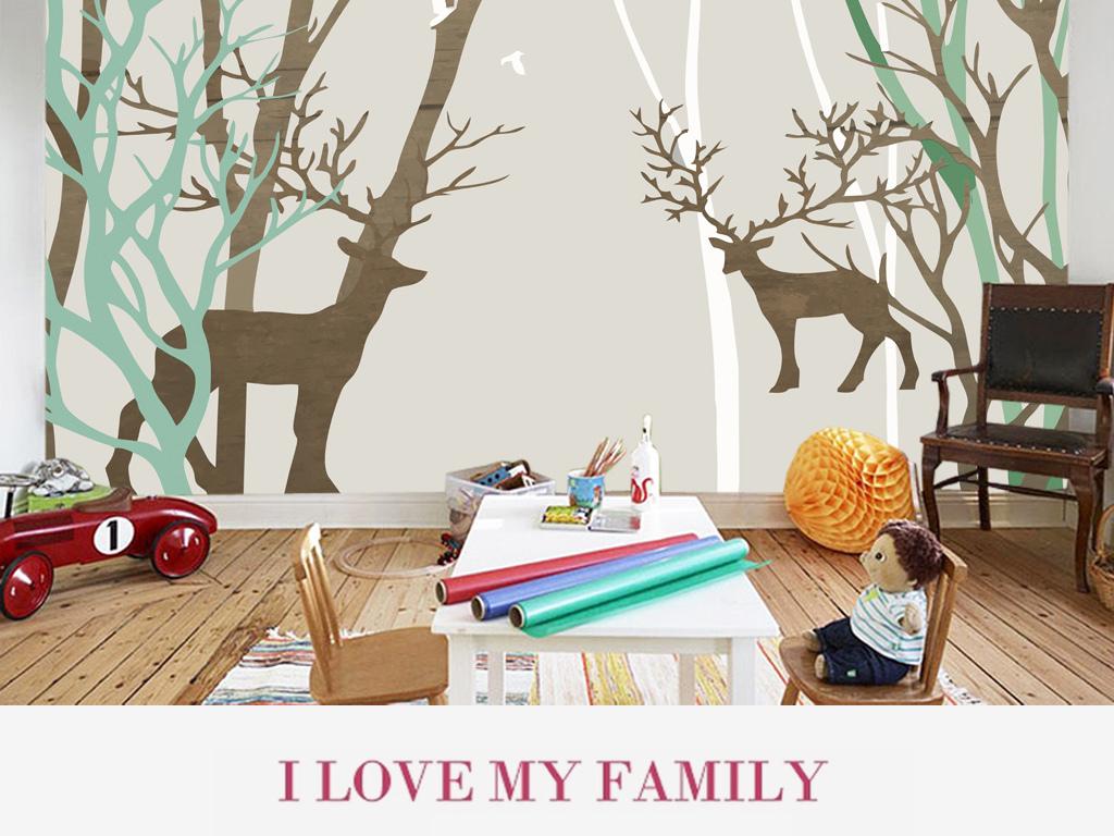 森林麋鹿手绘电视背景墙(图片编号:15632593)_美式墙