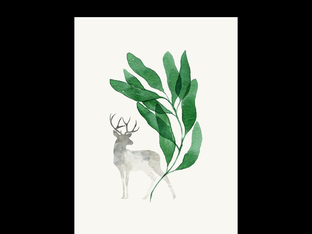森系手绘叶子插画